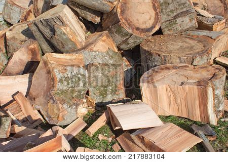 a pile of freshly chopped wooden logs. Pile firewood prepared for fireplace. Big pile of firewood logs and blocks