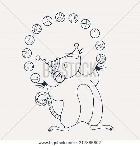 Illustration with a cheerful rat playing with a balls. Coloring page. Vector image.
