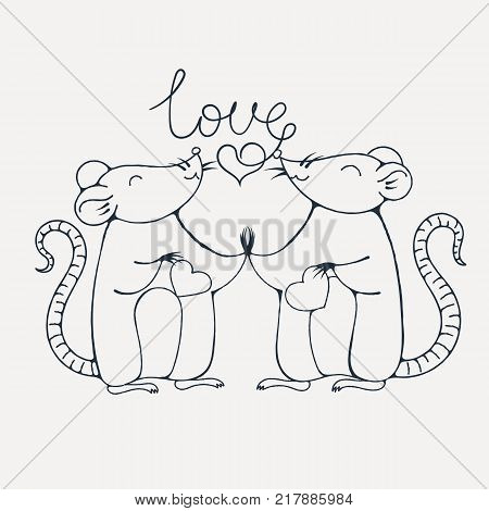 Rats in love. Coloring page. Vector image.