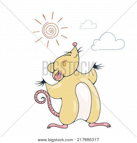 Illustration with a cheerful rat playing under the sun. Vector image.
