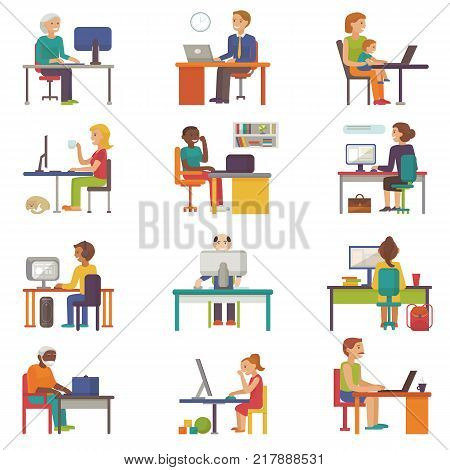 People work place vector business worker or person working on laptop at the table in office coworker or character workplace on computer with illustration isolated on white background.