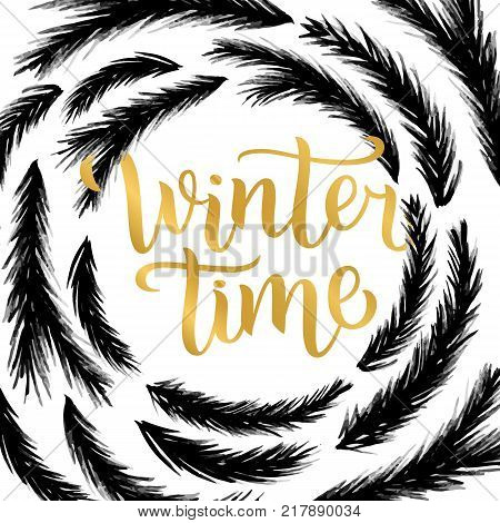 Winter time lettering design. Vector illustration, gold letters with christmas tree branches frame background. Happy New Year and Merry Christmas Seasonal Sale. Holiday winter off-price.