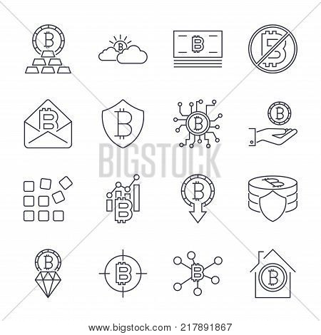Bitcoin different icons set for internet money crypto currency symbol and coin image for using in web, apps, programs and other. Editable Stroke. EPS 10