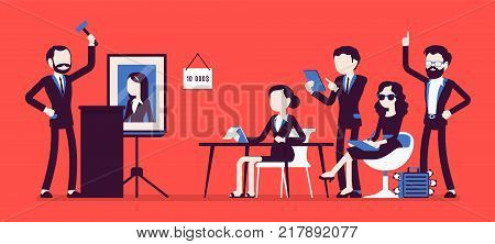 Auction public sale. Potential buyers making higher bids to get goods, property, participants, auctioneer announcing prices with hammer. Vector business concept illustration with faceless characters