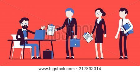 Certification official act. Organization certifying product proving quality, people searching document proof, seeking job qualification. Vector business concept illustration with faceless characters