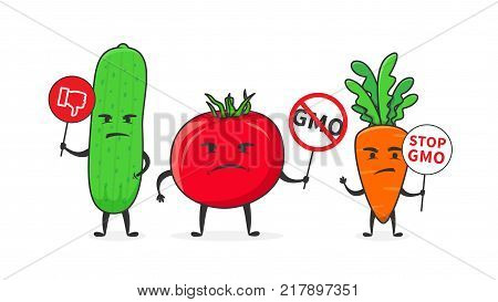 GMO research vector illustration. Genetically modified organism GMO line art concept.