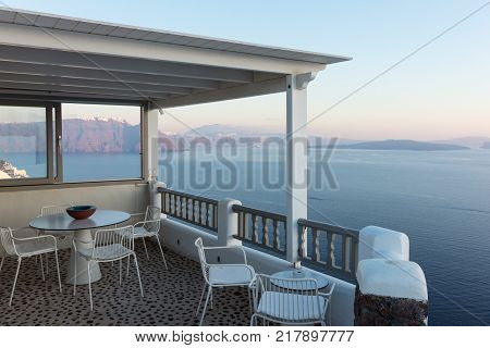 Terrace with view of the Mediterranean Sea in Oia, Santorini
