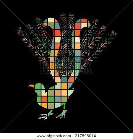 Lyrebird bird mosaic color silhouette animal background black. Vector Illustrator