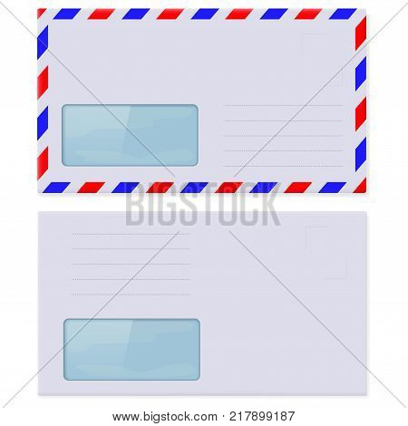 Blank envelopes with address window. Vector 3d illustration isolated on white background
