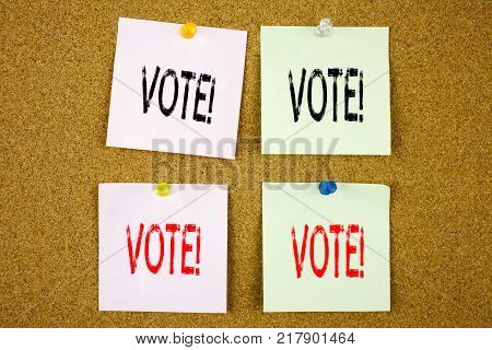 Conceptual hand writing text caption inspiration showing Vote Business concept for Voting Electoral Vote on colourful Sticky Note close-up