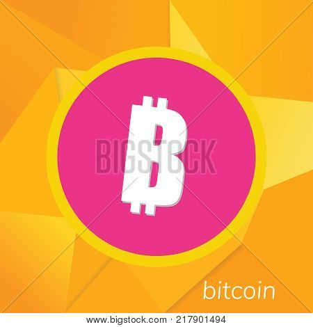 Bitcoin logo. Cryptography currency sign icon symbol. Modern design. Vector. Bitcoin crypto currency blockchain flat color vector logo on gradient background.