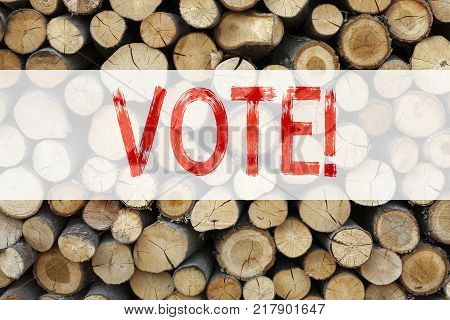 Conceptual announcement text caption inspiration showing Vote Business concept for Voting Electoral Vote written on wooden background with space