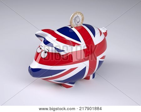 Piggy bank with English flag and sterling coin 3D illustration