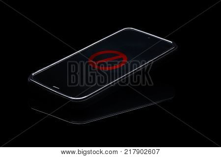 Cellphone addiction. Fomo. No mobile use icon on cellphone.