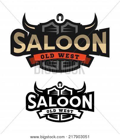 Saloon, tavern, wild west logo emblem Vector illustration