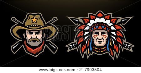 Head of cowboy and Indian on a dark background. Vector illustration.