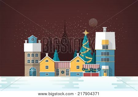 Snowy evening landscape with small European city. Cute houses and holiday street decorations. Gorgeous old town in New Year or Christmas eve. Colorful festive vector illustration in flat style