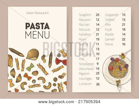 Restaurant or cafe dining menu template with plate of cooked delicious spaghetti, different types of uncooked pasta and place for text. List of tasty traditional Italian meals. Vector illustration