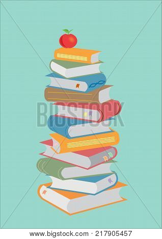 Books stacking. Open book, hardback books on Green background. Back to school. Copy space for text. Illustration