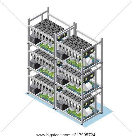 Isometric crypto currency mining farm concept with many motherboards and video cards isolated vector illustration