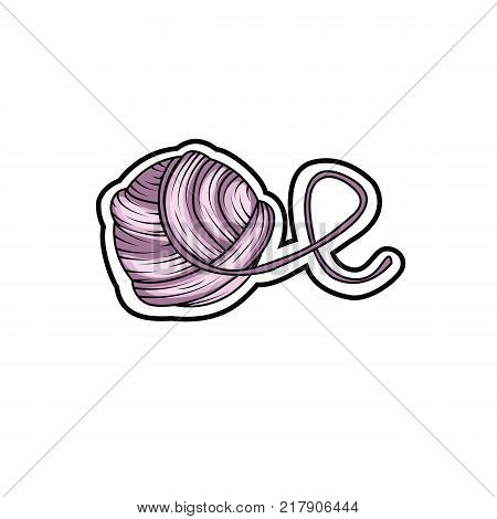 Yarn ball sticker in cartoon style. For print, logo, creative design. Vector illustration.