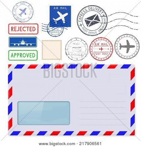 Envelope with address window and postal elements. Vector 3d illustration isolated on white background