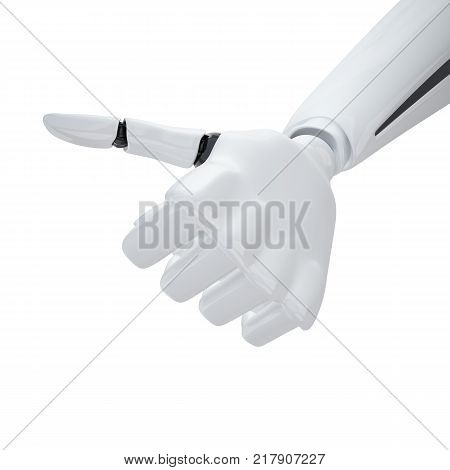 3d robotic hand giving the yeah sign. Including clipping path.