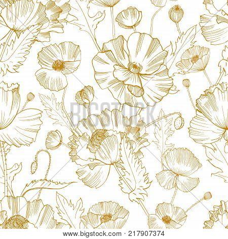 Botanical seamless pattern with gorgeous blooming wild poppy flowers hand drawn with yellow contour lines on white background. Natural vector illustration for textile print, wallpaper, wrapping paper