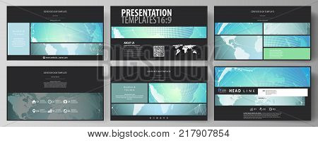 The black colored minimalistic vector illustration of the editable layout of high definition presentation slides design templates. Chemistry pattern, molecule structure, geometric design background