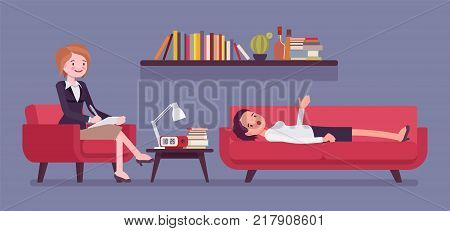 Female psychiatrist consulting. Medical practitioner treating patient on behavioral, mental health problems, office. Specialist to help with emotional disorders. Vector flat style cartoon illustration