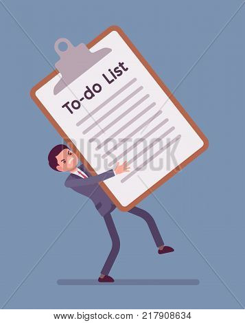 Heavy to-do list. Young busy manager holding a giant clipboard with long list of tasks needs to be completed, too many things to do at work. Vector business concept flat style cartoon illustration