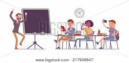 School bad behaviour. Disruptive classroom situation, classmates causing trouble for male teacher, misbehaves at lesson, negative atmosphere. Vector flat style cartoon illustration on white background