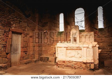 ORADOUR SUR GLANE FRANCE - December 03 2017 : remains of the interior of the church destroyed by fire during the massacre of the population of the vilage by the German army on June 10 1944.