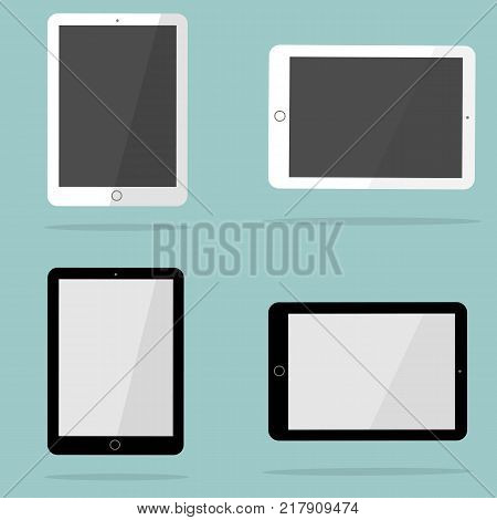 Icons of white and black tablet with blank screen in ipad style . Flat design vector illustration. EPS 10.