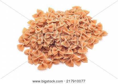 vegan integral whole wheat farfalle pasta isolated