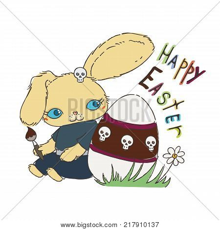 Cute Emo Easter bunny for holiday card, children subculture or easter card. Hand drawn doodle illustration.