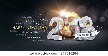 New Year date 2018 composed with a golden planet earth and all the best Greetings on a festive black background - 3D illustration