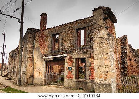 ORADOUR SUR GLANE FRANCE - December 03 2017 : remains of a bakery destroyed by fire during the massacre of the population of the vilage by the German army on June 10 1944
