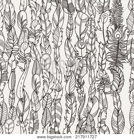 Seamless Pattern with Random Fantasy Feathers. Vector illustration for wallpaper, web page background, greeting cards, fabric print, coloring books
