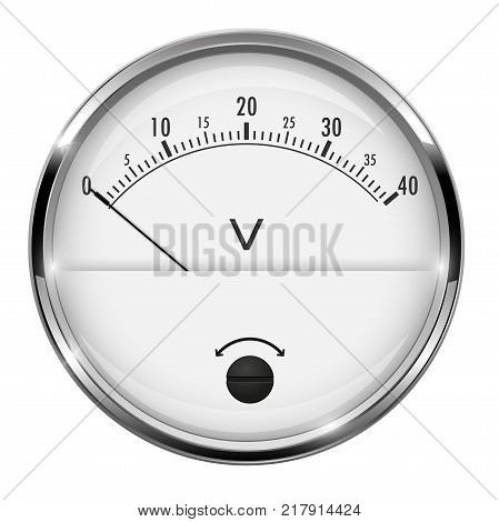 Voltmeter. Round gauge with metal frame. Vector 3d illustration isolated on white background