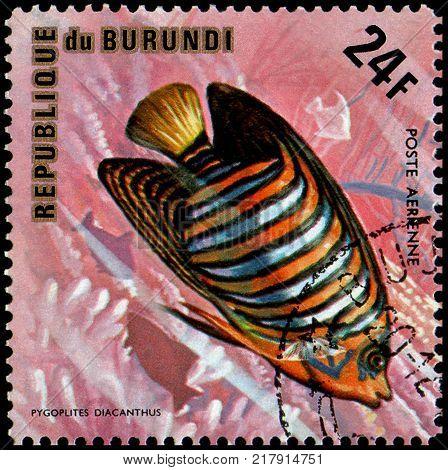 REPUBLIC OF BURUNDI - CIRCA 1974: a postage stamp, printed in Burundi, shows a fish Regal Angelfish (Pygoplites diacanthus)