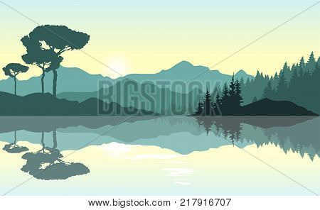 Beautiful sunrise at the mountains. Green landscape reflected at the lake. Nature background. Vector illustration.