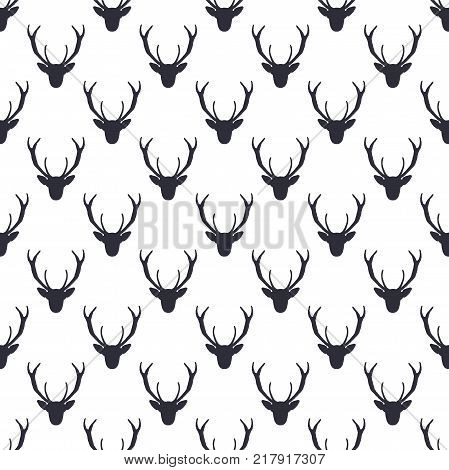 Deer head pattern. Wild animal symbols seamless background. Deers icon. Retro wallpaper. Stock vector illustration isolated on white. Monochrome design.