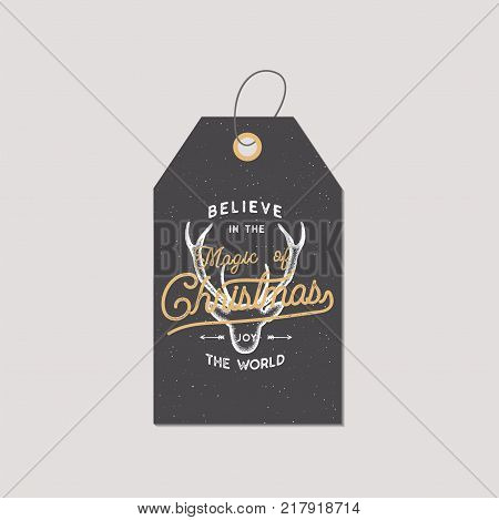 Merry Christmas and New Year gift tag. Holiday card concept with xmas symbols - deer. Believe in Christmas magic sign. Retro colors pallete. Stock Vector illustration isolated on white background.