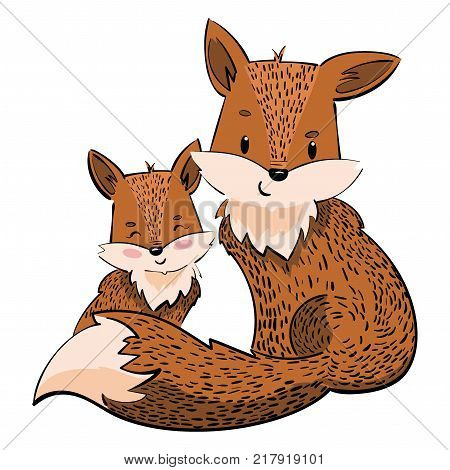 Cartoon family of foxes. A stylized fox with a fox puppy. Linear Art. Vector illustration for children.