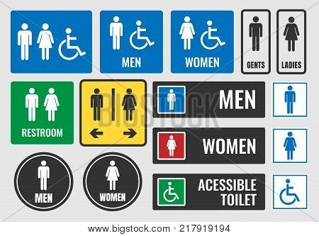 restroom signs and toilet icons, wc labels