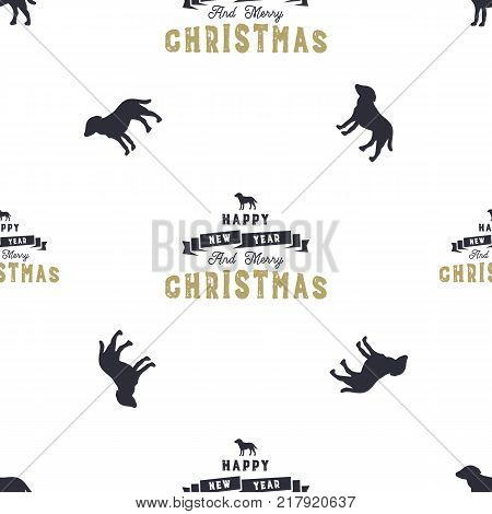 Year of the dog pattern. Symbol of 2018 seamless background. Dog icon and Merry christmas typography elements. Retro wallpaper. Stock vector illustration isolated on white.