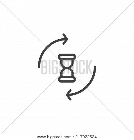 Hourglass with circling arrows line icon, outline vector sign, linear style pictogram isolated on white. Processing sandglass symbol, logo illustration. Editable stroke