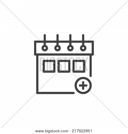 Calendar plus add line icon, outline vector sign, linear style pictogram isolated on white. Add new appointment on calendar symbol, logo illustration. Editable stroke