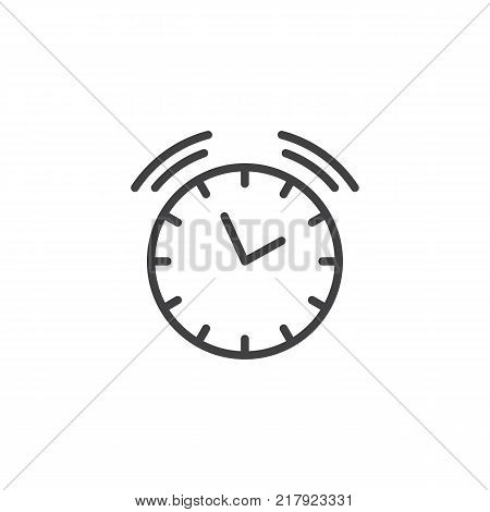 Ringing alarm clock line icon, outline vector sign, linear style pictogram isolated on white. Wall alarm watch symbol, logo illustration. Editable stroke